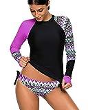 Mujeres Bikini Dos Piezas Manga Larga Camiseta Bañador para Buceo...