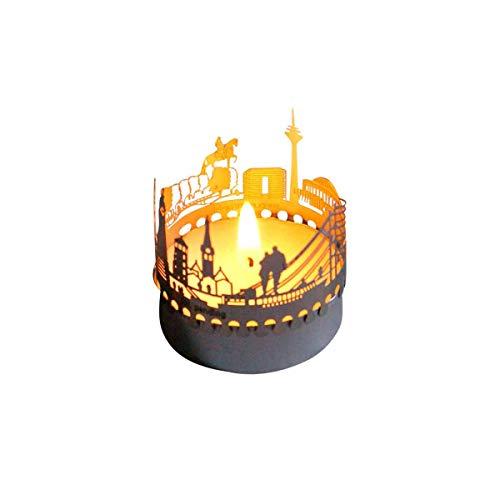 13gramm Düsseldorf-Skyline Windlicht Schattenspiel Souvenir, 3D Edelstahl Aufsatz für Kerze inkl. Karte