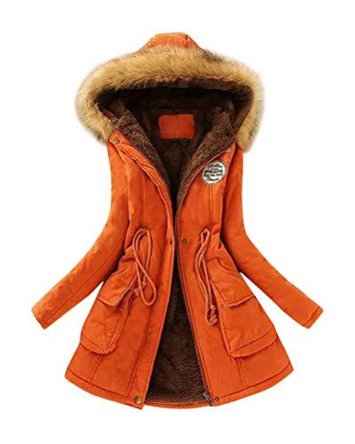 Yesgirl Winterjacke Damen Länge Plüsch Parka Tunnelzug Winter Mantel Daunenjacke Steppjacke Fellkapuze Warmer Wattierte Jacke mit Kapuze A-Orange Small