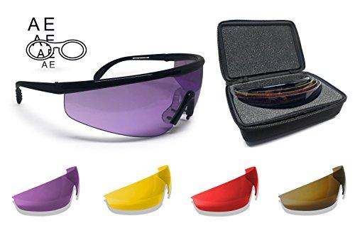 BERTONI Schießbrille Sehstärke mit Optikadapter mit 4 Wechselgläser - AF899A Ballistische Schutzbrille Sportbrillen Für Herren und Damen