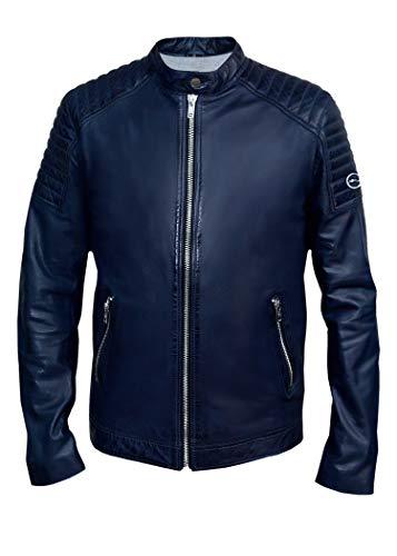 Blueorn Edvin - Chaqueta de piel para hombre, chaqueta de entretiempo, chaqueta de motorista, piel auténtica, color azul
