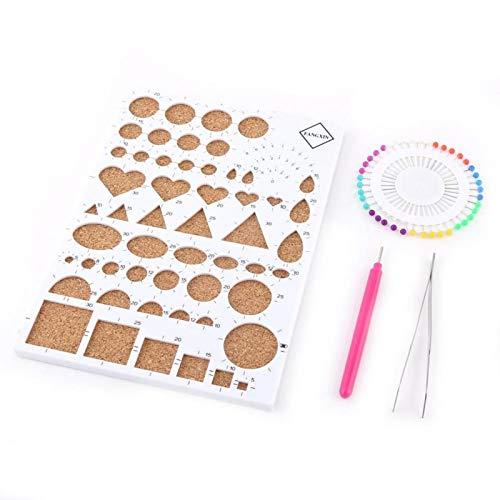 ViaGasaFamido Kit de Filigrana de Papel, 4 Colores, Juego de Plantillas de Filigrana para Manualidades de Papel para Bricolaje, Juego de Herramientas de Quilling de Pinzas de Tablero(Blanco)