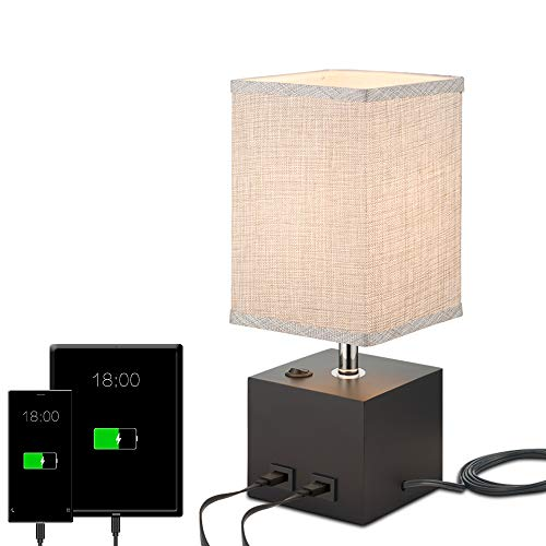 Table Desk Lamp, Grey Fabric Shade Bedside Nightstand Lamp with 2 USB Charging Port, Solid Wood Lamp Base for Bedroom,Office, Living Room
