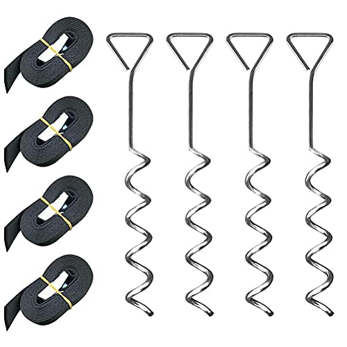 Fzd Sweet Trampoline Stakes Heavy Duty Trampoline Parts Corkscrew Shape Steel Stakes Anchor Kit with T Hook for Trampolines - 4-Pc Pack 4 Strong Belt