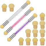 tonyg-p 3 Stück Nail Art Rendering Werkzeuge mit 12 Ersatzköpfe, Doppelter Kopf Ombre Sponge Maniküre-Pinsel für UV Gel und Falsche Nägel