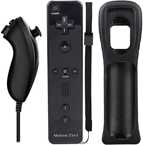 QUMOX Telecomando Wii, 2 in 1 Motion Plus Integrato Remote di Gioco Controller con Custodia in Silicone e Cinturino da Polso per Nintendo Wii e Wii U Nero