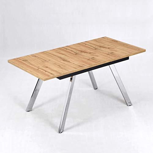 B&D home Esstisch ausziehbar, Ausziehtisch, Esszimmertisch, Küchentisch, Speisentisch, in Optik Eiche, mit verchromten Beinen, 120-160 x 80 cm…