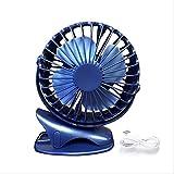 Refrigerador portátil Mini ventilador, 4000 mah 360 grados de rotación total, recargable, carga USB, ventilador de clip de escritorio para cochecito de bebé, cinta de correr, camping azul