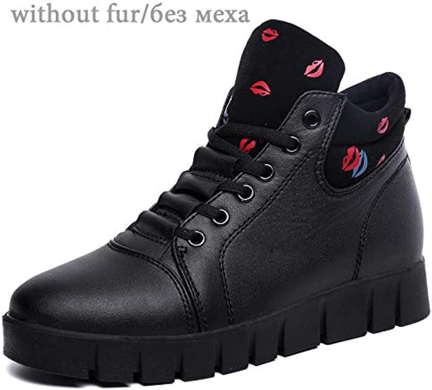 Fumak 2018 Women Boots Winter Boots Woman Warm with Fur Ankle Boots for Women Leather High Top Sneakers Plush shoes