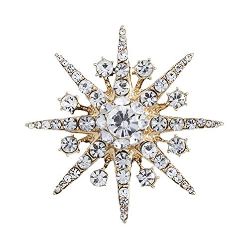 KSFBHC Spilla di Strass Stella Spille Spumanti di Cristallo del Fiocco di Neve del Risvolto dei Monili dei Gioielli dei Gioielli per Le Donne (Metal Color : Gold)