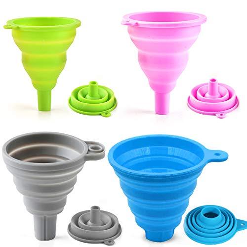 YEFAF Silikon FaltTrichter, 4 Stück Silikon Praktische Trichter Set für Küche und Haushalt, Einfaches Befüllen und Platzsparenden(4 Verschiedene Größen)