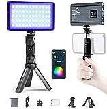 Weeylite RB9 RGB LED Vidéo Lumière Panneau avec Trépied,Batterie intégrée rechargeable,360° Plein Couleur,App Contrôle,Dimmable 2500K-8500K pour Live Streaming,Vlogging,Selfie,Conférence Vidéo