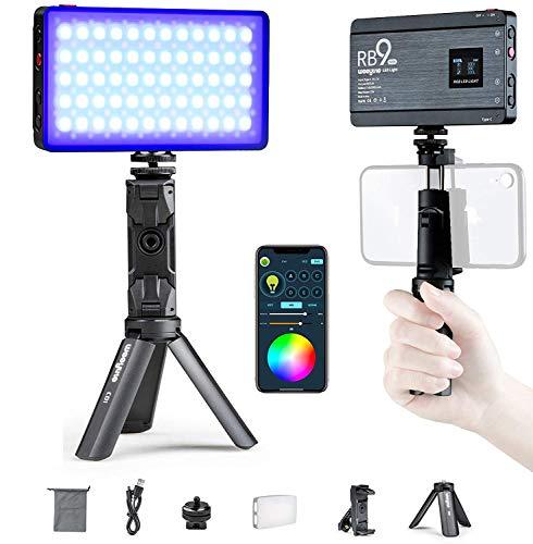 Weeylite LED Videoleuchte RGBW mit eingebautem Akku 3000mAh, OLED Bildschirm Vollfarbe, dimmbare Videolicht 2500K-8500K Bluetooth Remote mit Handyhalterung