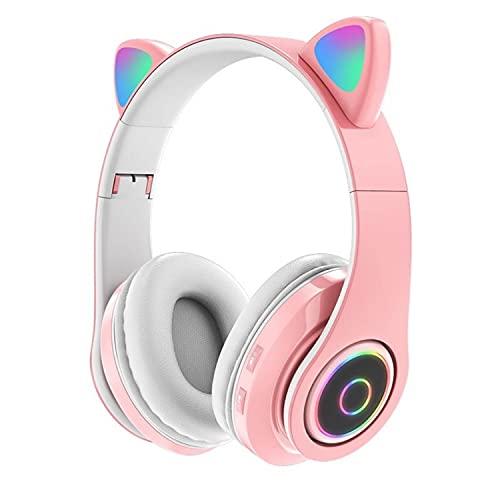 Audifonos Inalambricos Bluetooth 5.0, Diadema Audífonos con Microfono, Auriculares Bluetooth Estéreo con Cancelación de Ruido, Headset Ligeros Plegables con Hi-Fi, Compatibles con Todos los Dispositivos Bluetooth (Rosado)