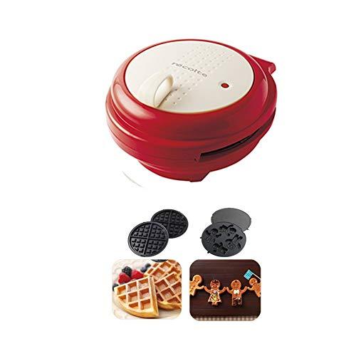 Gaufrier Waffle Machine, sandwich, biscuits, pommes de terre rissolées Autre On The Go Petit déjeuner, déjeuner, ou des collations, 2 jeux de cuisson Plateaux gaufrier professionnel (Color : Red)