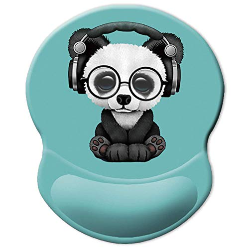 ITNRSIIET Ergonomic Mouse Pad with Gel Wrist Rest Support, Personalized Cute Green Pattern Headset Music Panda, Pain Relief Comfort Wrist Rest Pad with Non-Slip PU Base for PC and laptops