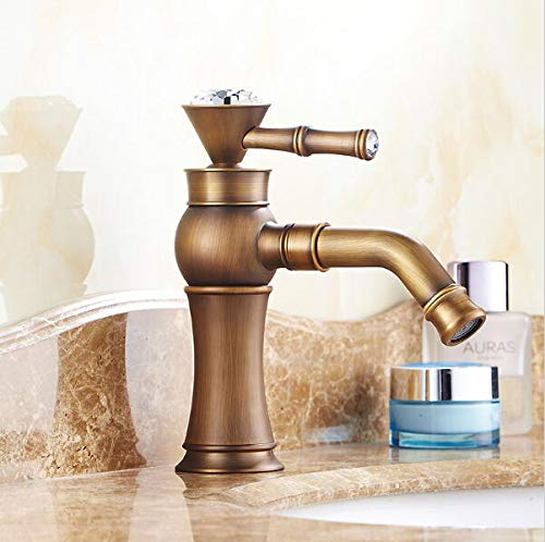 Grifo de la cocina Grifos de baño retro antiguos Grifo mezclador de cristal para lavabo Grifos mezcladores de lavabo de una manija Mezclador de lavabo con caño giratorio ZR154