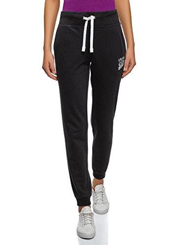 oodji Ultra Damen Sport-Hose mit Bindebändern, Schwarz, XS