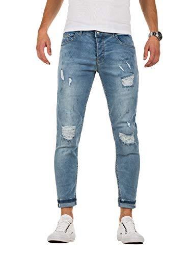 PITTMAN Jeans Skinny Fit M444 - Zerissene Jeans Herren - Blaue Hose eng Stretchjeans - Männer Strecht Hosen, Blau (Blue Denim), W31/L32