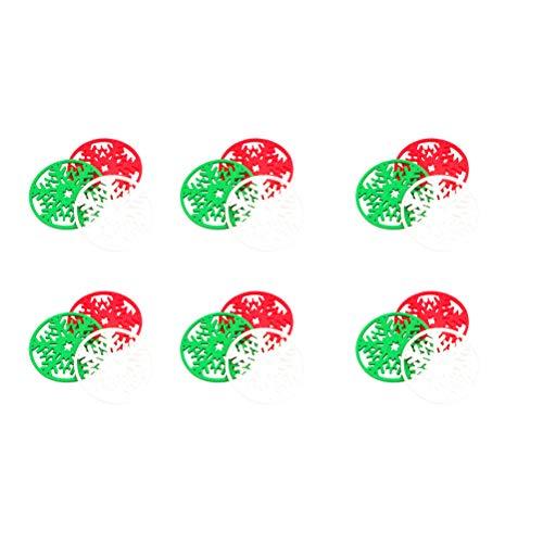 DOITOOL - Juego de 18 manteles individuales decorativos de fieltro con temática de Navidad, para suministros de cocina (rojo+blanco+verde cada uno para 6) decoración Hmoe