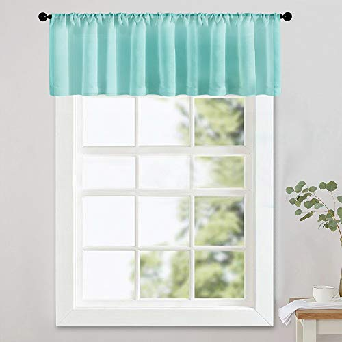 MRTREES Sheer Valances 54 x 16 inches Long Aqua Blue Valance Curtain Living Room Bedroom Sheers Light Filtering Rod Pocket Voile 1 Panel