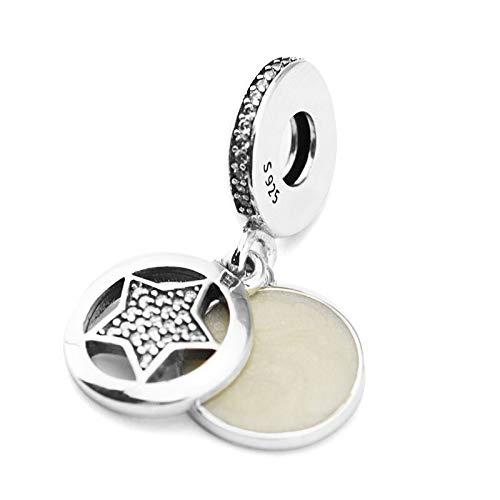 LILANG Pandora 925 Pulsera de joyería Cuentas de Marca Natural para Plata esterlina Amistad Estrella Abalorios de Plata Berloque Perles Mujeres Regalo DIY