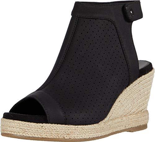 Skechers Women s Ankle Strap Wedge Sandal, Black, 7