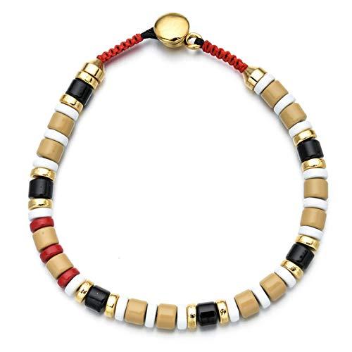 NA Hjpam Multicolor Emaille Fliesen Armband Elastic Rainbow Stapelbare Fliesen Perlen Armband Freundin Geschenk Bunte Armbänder Für Frauen | Charm Armbänder