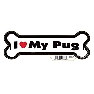 """7"""" Dog Bone Magnet - Works Great on Cars, Refrigerators, Mailboxes and More (I Love My Pug) (B00F0UGW3E)   Amazon price tracker / tracking, Amazon price history charts, Amazon price watches, Amazon price drop alerts"""