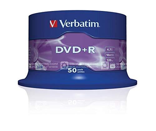 Verbatim DVD+R - 4.7 GB, 16-fache Brenngeschwindigkeit mit langer Lebensdauer und Kratzschutz, 50er Pack Spindel, mattsilber