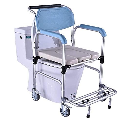 Silla con inodoro de ducha con ruedas, asiento de ducha acolchado con ruedas e inodoro incorporado, silla de ducha e inodoro, taburete de baño para bañarse, ancianos, discapacitados y movilida