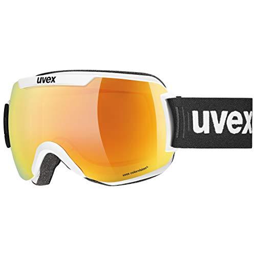 Uvex Unisex– Erwachsene Downhill 2000 CV Skibrille, White (White mat/orange-Green), Einheitsgröße