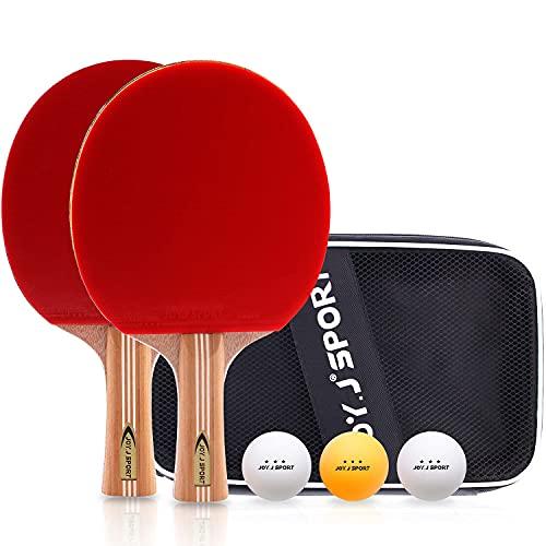 JOYJ Tischtennis Schläger Set, 2 Tischtennisschläger + 3 Bälle   Tischtennis Set für Anfänger und Familien