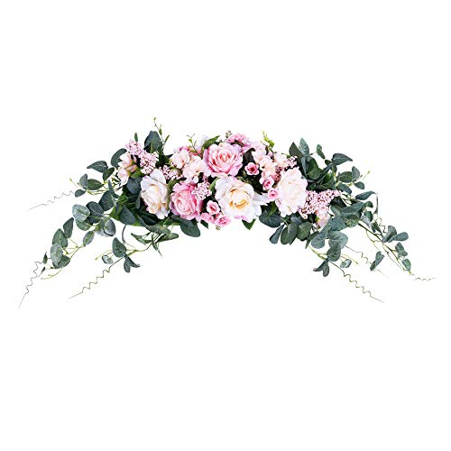 HiiARug Artificial Rose Flower Swag, 31 Inch Decorative Swag with Roses Hydrangeas Berry Eucalyptus Leaves Handmade Garland for Wedding Home Party Front Door Wall Decor (Pink & Champagne, 31')