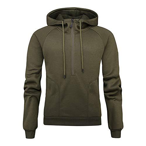 SFYZY Herren Fleece-Oberteil mit halbem Reißverschluss - Schnelltrocknender Pullover Herren Casual Hoodie Reißverschluss-Sweatshirt Einfarbige Strickjacke mit Kapuze