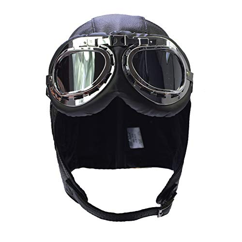 IFSUN Aviator Hat Ear Flaps Leather Trooper Trapper Pilot Helmet Cap and Goggles Black