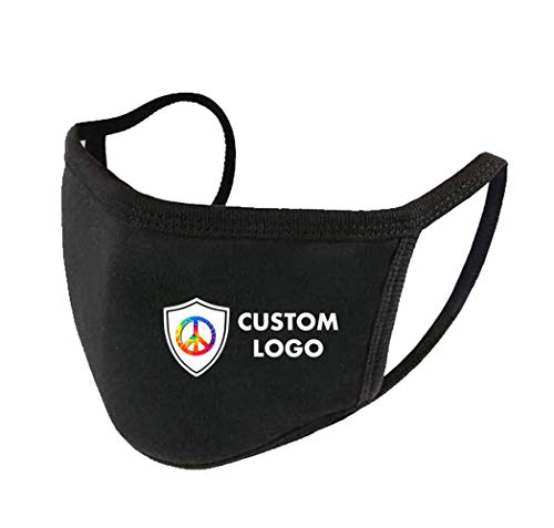 Customized Cotton Face Mask with Three Layers of Cotton CMYK Logo Printing Black