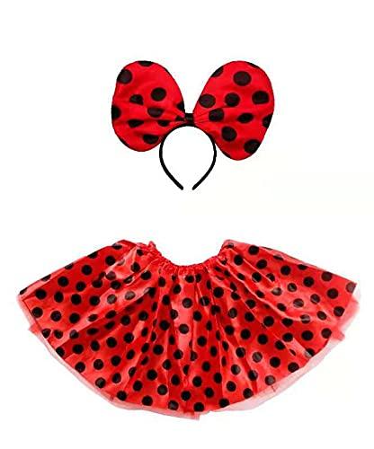 Disfraz de Princesa para Niñas y Mujeres con Accesorios para Fiesta de Cumpleaños Carnaval Halloween Cosplay (Pack Minnie/Rojo)