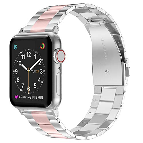 Wearlizer Stainless Steel Compatible with Apple Watch Band 38mm 40mm Women Men,Ultra-Thin Lightweight Color Matching Replacement Band Strap Compatible for iWatch Bands Series54321 Rose Gold+Silver