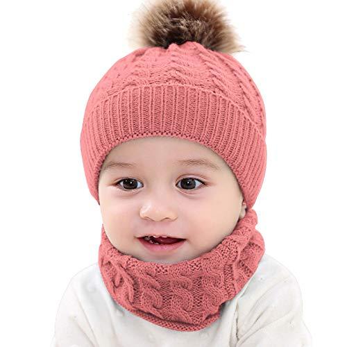 oenbopo 2 gorros de punto para bebés y niños pequeños, para invierno, cálidos y abrigadores de cuello, bufanda circular para bebés y niños