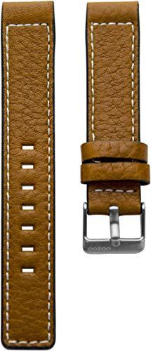 Oozoo Armband Uhrenband Uhrenarmband Leder Lederband mit Dornschließe Cognac - 24 mm