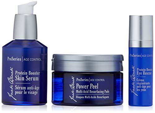 JACK BLACK The Defensive Line Anti-Aging Triple Play ProSeries Age Control, Protein Booster Eye Rescue, Protein Booster Skin Serum, Power Peel Multi-Acid Resurfacing Pads, 3 Products Included