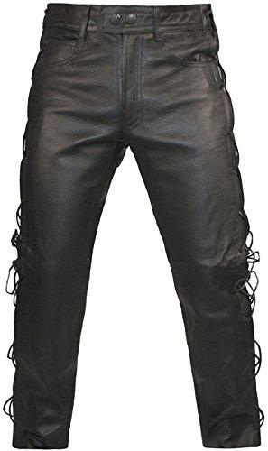 Skintan Herren Motorradhose Biker Lederjeans Lederhose mit Seitliche Schnürung Schwarz - L34 W36