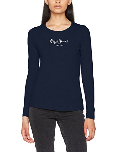 Pepe Jeans New Virginia Ls, Camiseta Para Mujer, Azul (Navy