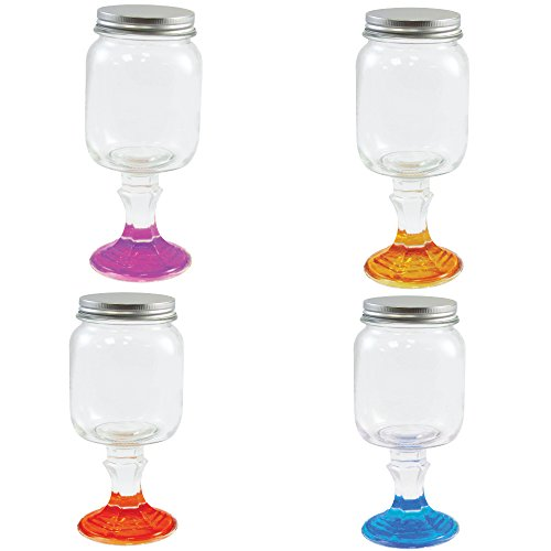 Wine Glass Stemware Mason Jar - Hillbilly Wine Glass - 18 oz.Set of 4 Redneck Wine Glasses Cocktail Set
