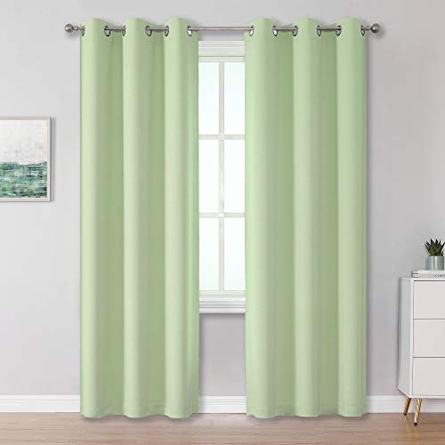 Light Green Blackout Curtain Panels/Drapes for Living Room 84 inch Length Solid Energy Efficient Room Darkening Bedroom Curtains Thermal Insulated Grommet Top 42x84 inch Set of 2 Panels