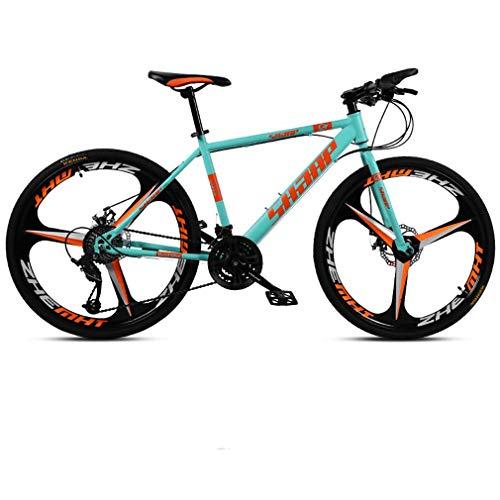 AISHFP 26 Pulgadas de Bicicletas de montaña, Bicicletas de Marco Doble Freno de Disco de Acero de Alto Carbono /, Playa de Motos de Nieve de Bicicletas, Ruedas de aleación de Aluminio,Azul,24 Speed