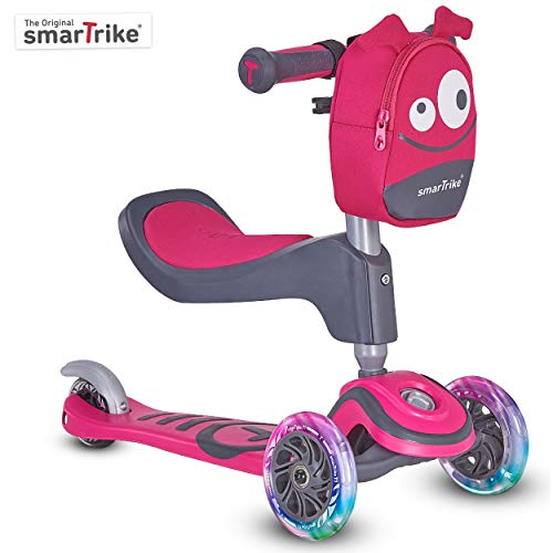 smarTrike T1 3-in-1 Toddler Kids Scooter for Boys & Girls, for 1-3 Years Old,Pink w/Safety Gear
