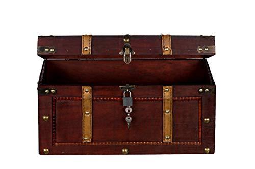Sarah B Truhe AX4017 Abschließbar MIT Schloss Holztruhe, Schatzkiste,Kiste, Piratenkiste, Kleinmöbel,Holz Größe L 50cm