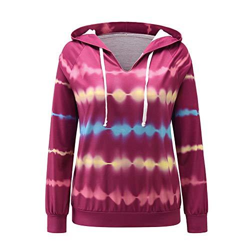 Herbst und Winter langärmelige Kapuze Tie-Dye-Pullover Damen lässig Top Coat T-Shirt